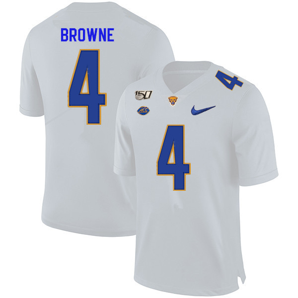 2019 Men #4 Max Browne Pitt Panthers College Football Jerseys Sale-White